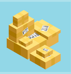 Flat carton box transport and packaging shipment vector