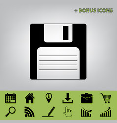 Floppy disk sign black icon at gray vector