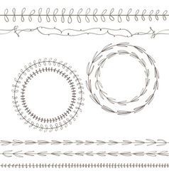 Flowers wreath circle vector