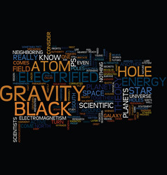 From the atom to the black hole text background vector