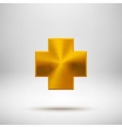 Gold Abstract Cross Button Template vector image