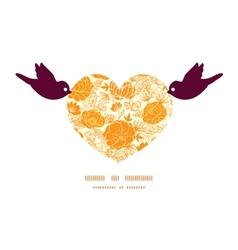 Golden art flowers birds holding heart vector