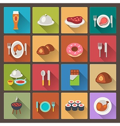 grill and sweets icons in flat design style vector image vector image