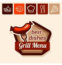 Grill menu emblem vector