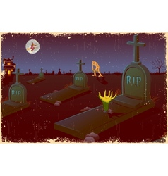 Halloween Night in Graveyard vector image
