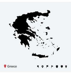 High detailed map of greece with navigation pins vector