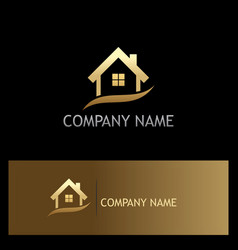 house realty company gold logo vector image vector image