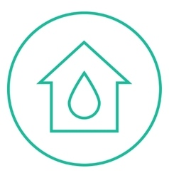 House with water drop line icon vector image vector image