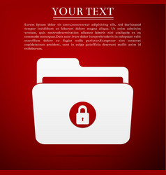 locked folder icon isolated on red background vector image vector image