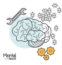 Mental health brain gear puzzle tool vector