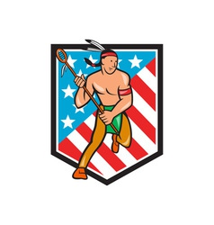 Native American Lacrosse Player Stars Stripes vector image vector image