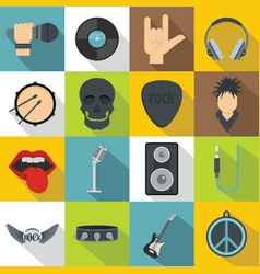 Rock music icons set flat style vector