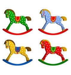 rocking horses set children s toy classic wooden vector image vector image
