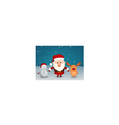santa claus reindeer and snowman holding hands vector image vector image