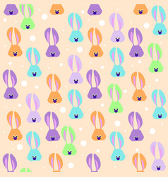 Seamless easter pattern with colored rabbits vector