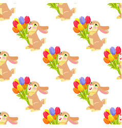 seamless pattern with chocolate bunny and bouquet vector image vector image
