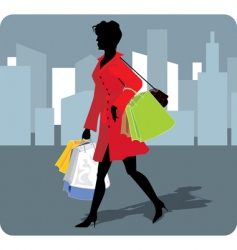 shopping girl vector image vector image