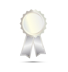 Silver seal award ribbon on white background vector