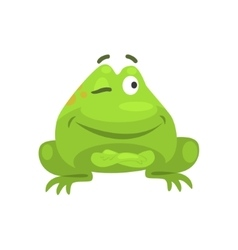 Smug winking green frog funny character childish vector
