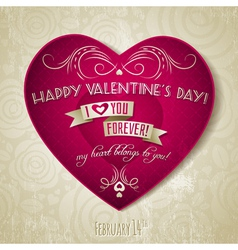 valentines day greeting card with red heart flower vector image vector image