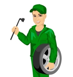 Working man in car repair service holding whee vector