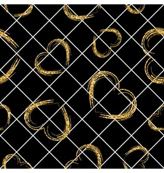 Golden grunge hearts seamless pattern vector