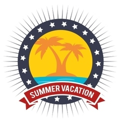 Vacation badge palm tree beach graphic vector