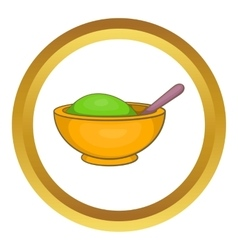 Yellow mortar and pestle icon vector
