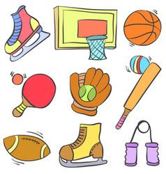 sport equipment cartoon style doodle vector image