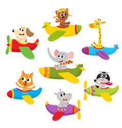 Cute little baby animal pet characters flying on vector