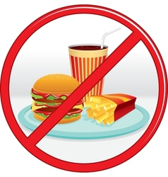 No fast food prohibition sign label vector