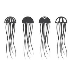 Jellyfish icon set vector