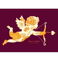 Golden art flowers shooting cupid vector