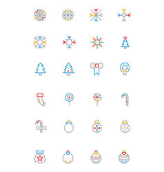 Christmas colored outline icons 1 vector
