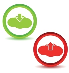 Cloud upload download icons vector