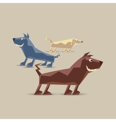 Low polygon dogs set vector