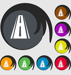 Road icon sign symbols on eight colored buttons vector