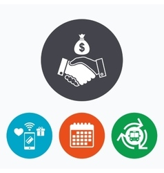 Dollar handshake sign icon successful business vector