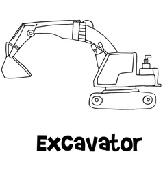 Art of excavator hand draw vector