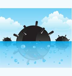 bomb in ocean vector image