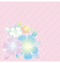 bouquet of hibiscus on pink background vector image vector image