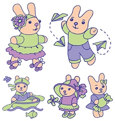 Bunnies for children set 1 of 2 vector image