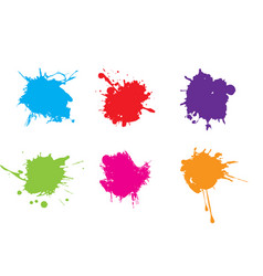 Colorful paint splatterspaint splashes set vector