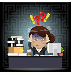 Confused business woman work on computer at desk vector image