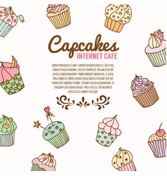 Cupcake bakery background vector