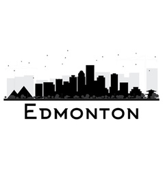 Edmonton city skyline black and white silhouette vector