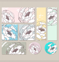 elegant cards with floral peony bouquets vector image
