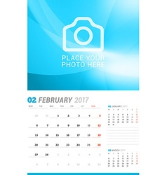 February 2017 wall monthly calendar for 2017 year vector