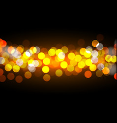 golden bokeh lights on black background vector image vector image