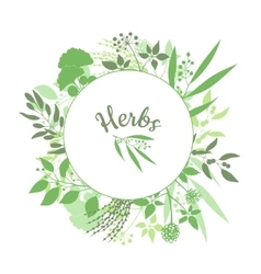 Green round frame with collection of plants vector